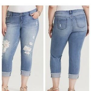 Torrid Cropped Boyfriend Jeans with Lace Underlay